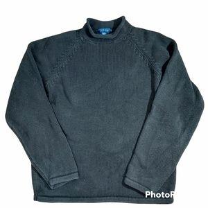 J Crew vintage black cotton roll neck sweater XL